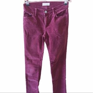 Loft  Corduroy Modern Pencil Pants- wine color